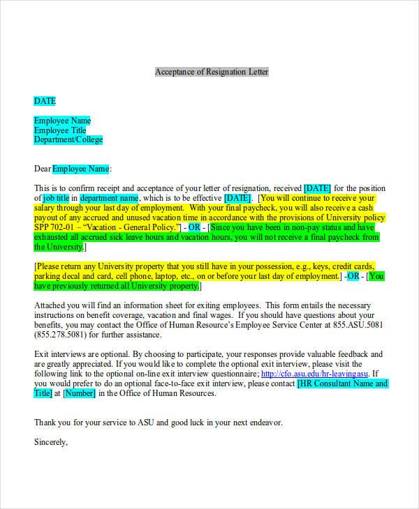65 acceptance letter examples resignation acceptance request letter altavistaventures Gallery