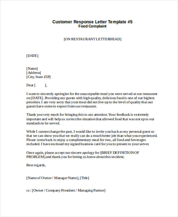 32 complaint letter examples samples pdf doc for Customer response letter templates