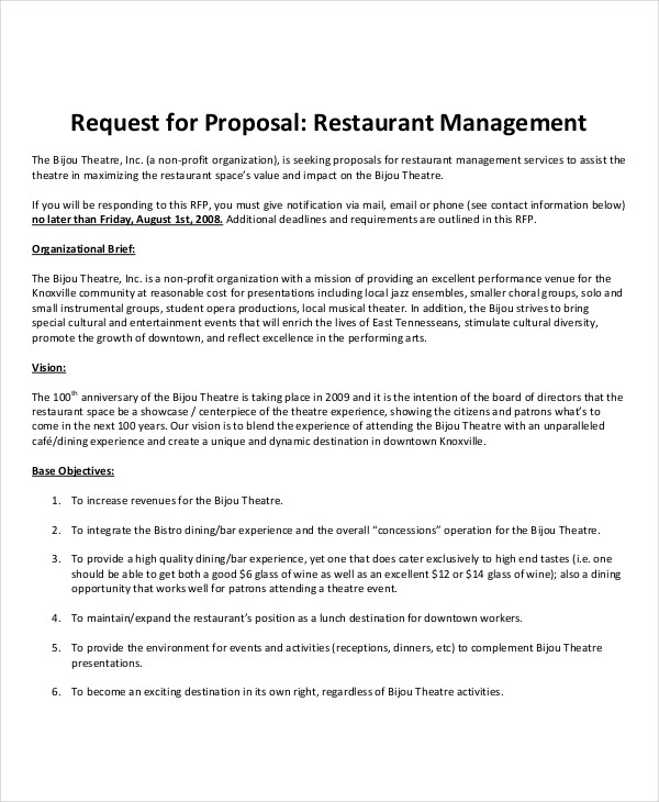 restaurant management project proposal
