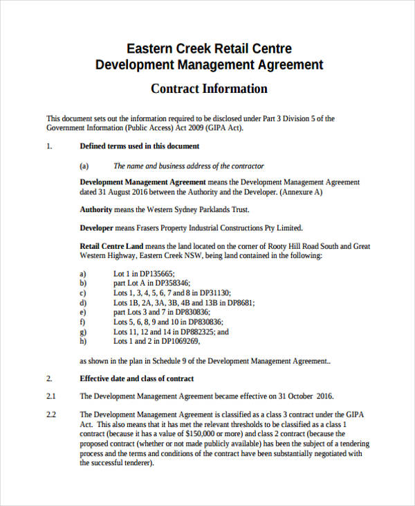 retail business management agreement