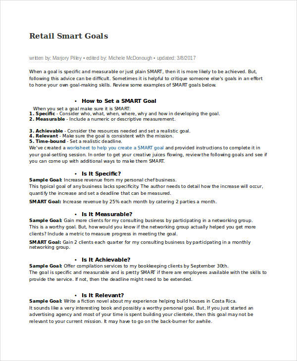retail smart goals