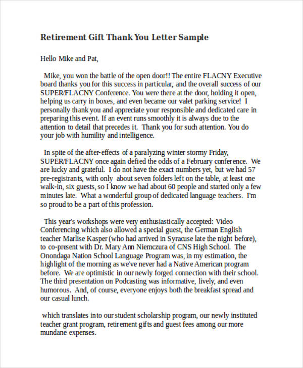 retirement gift thank you letter sample