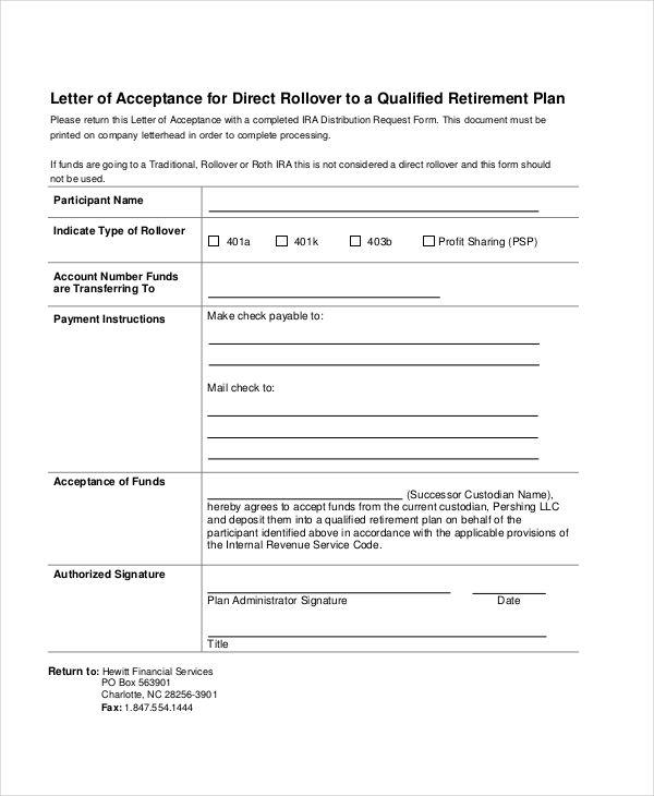 retirement plan letter of acceptance