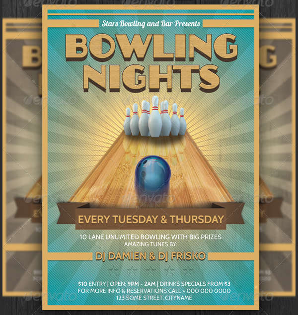 retro bowling party flyer