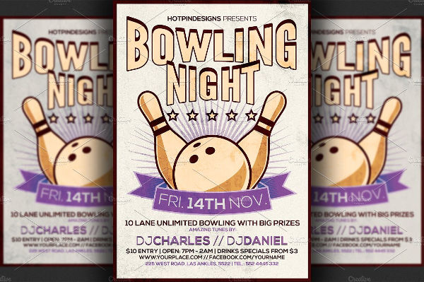 retro bowlking night event flyer