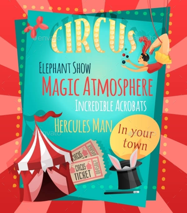 retro circus advertising poster
