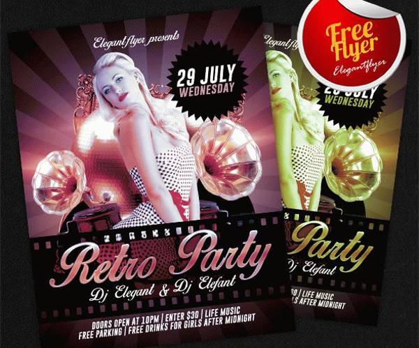 retro club event flyer