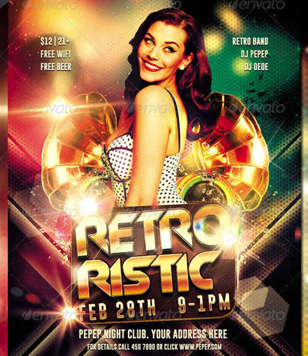 retro club party event flyer