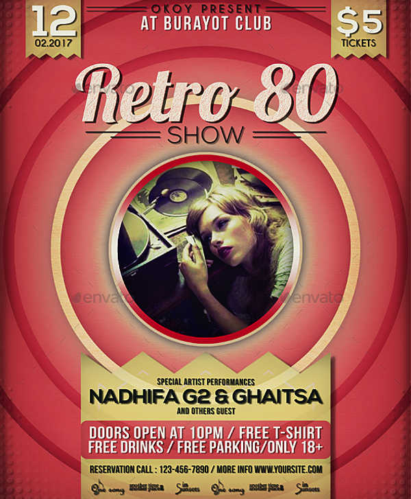 retro music event flyer