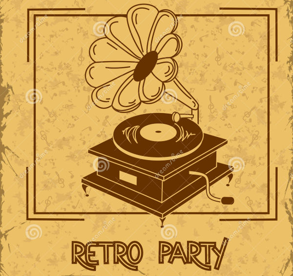 retro party invitation flyer