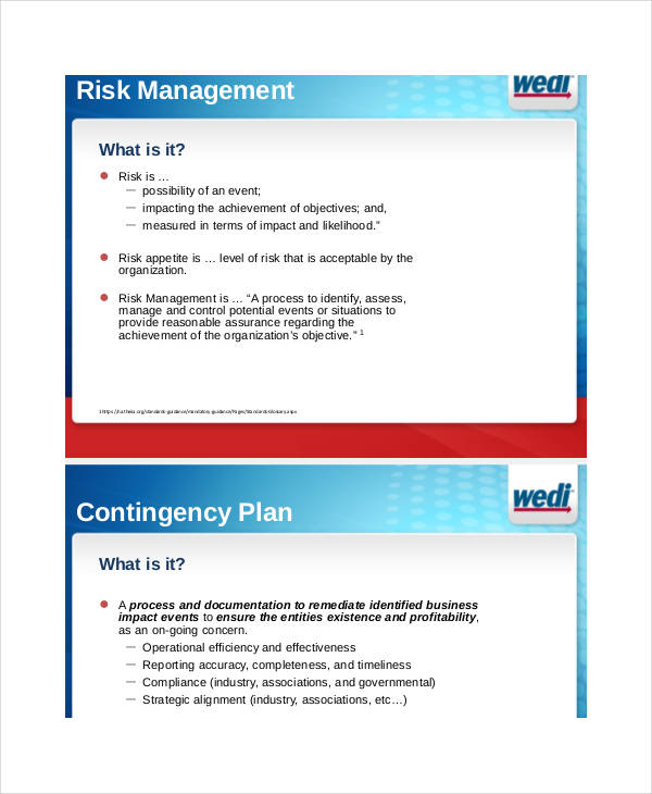 risk management contingency plan