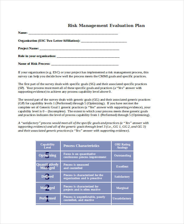 risk management evaluation plan