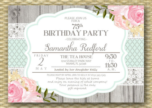 rustic adult birthday invitation