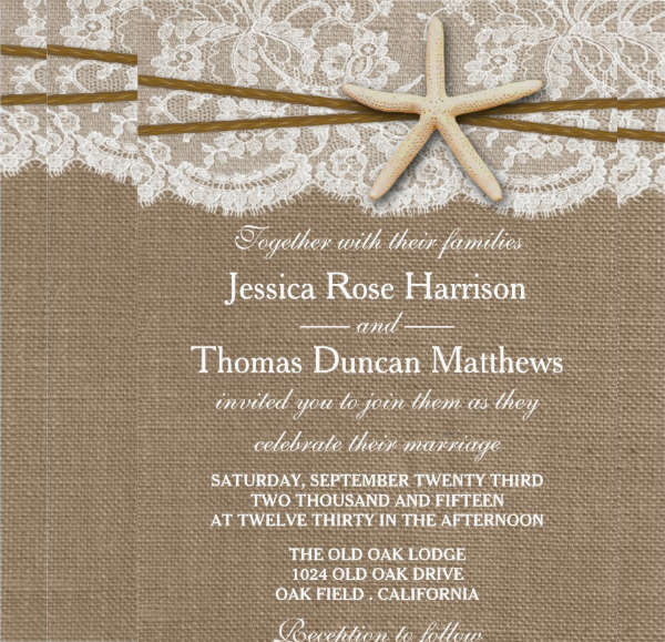 rustic beach wedding invitation