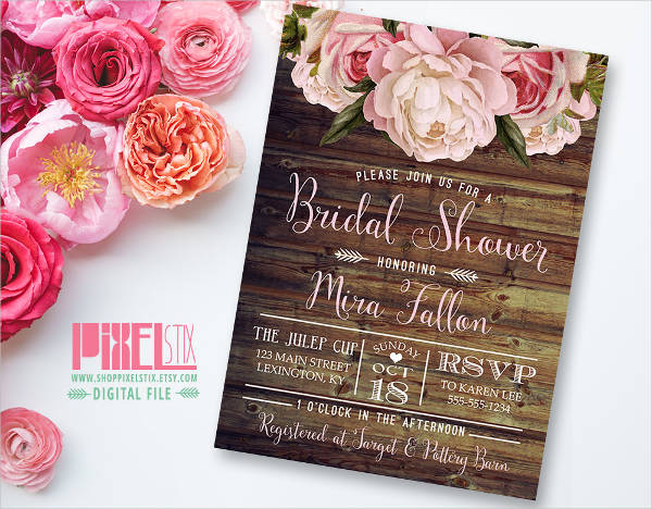 rustic fall bridal shower invitation