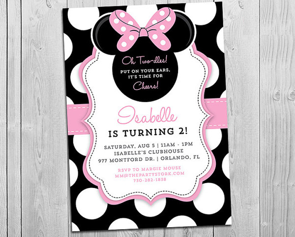 rustic minnie mouse birthday invitation