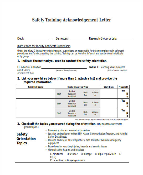 safety training acknowledgement letter