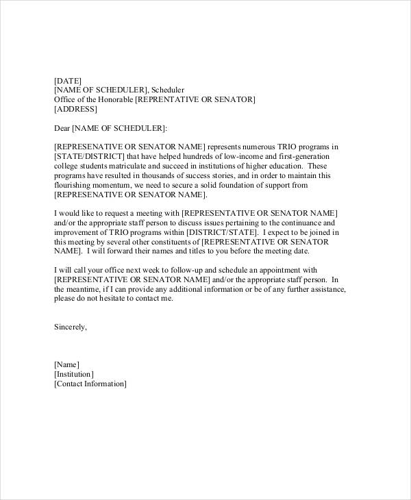 sales meeting appointment letter