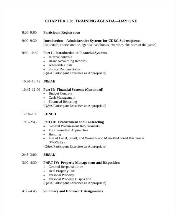 sales training program agenda