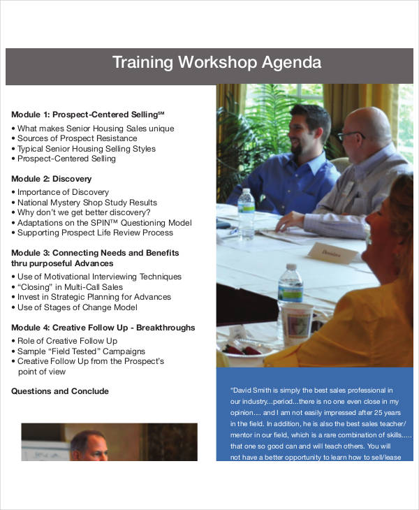 sales training workshop agenda