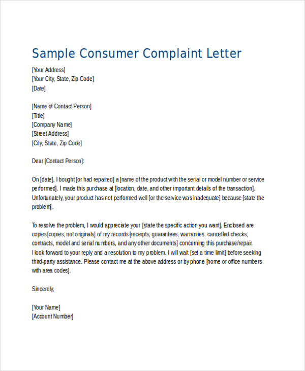 32 complaint letter examples samples pdf doc for Replying to a complaint letter template