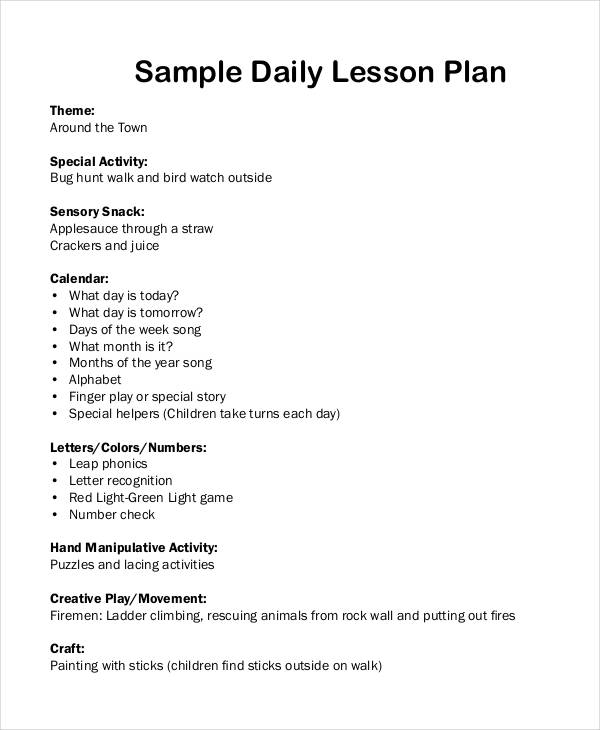 Daily Lesson Plan Template Elementary Lesson Plan Template Lesson