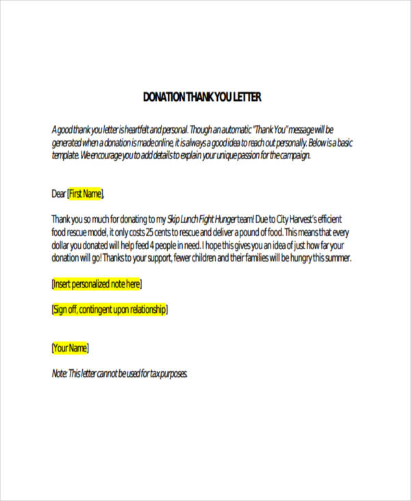 Donor Thank You Letter         Free Sample  Example Format Download
