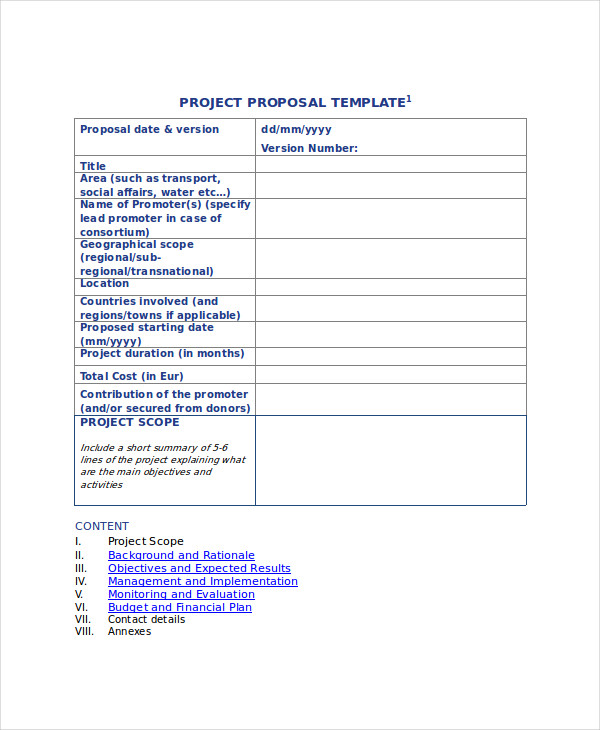 Sample Project Proposal Format