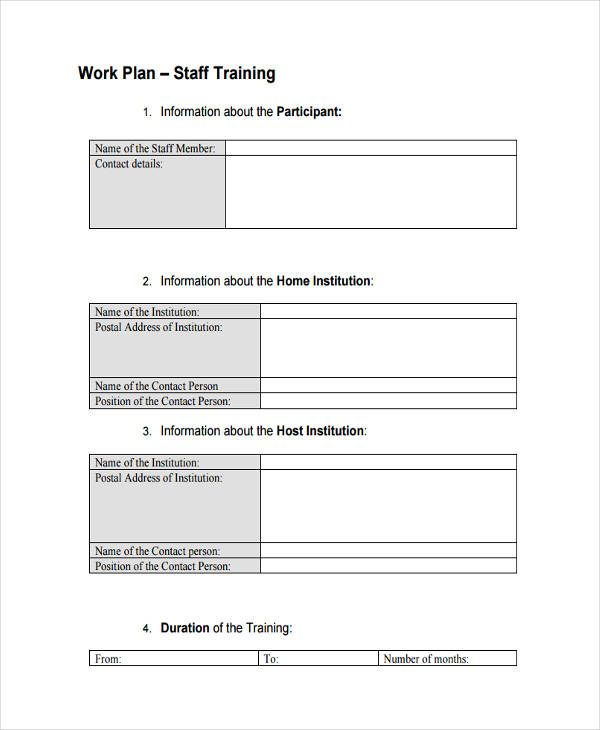 Sample Staff Training Work Plan