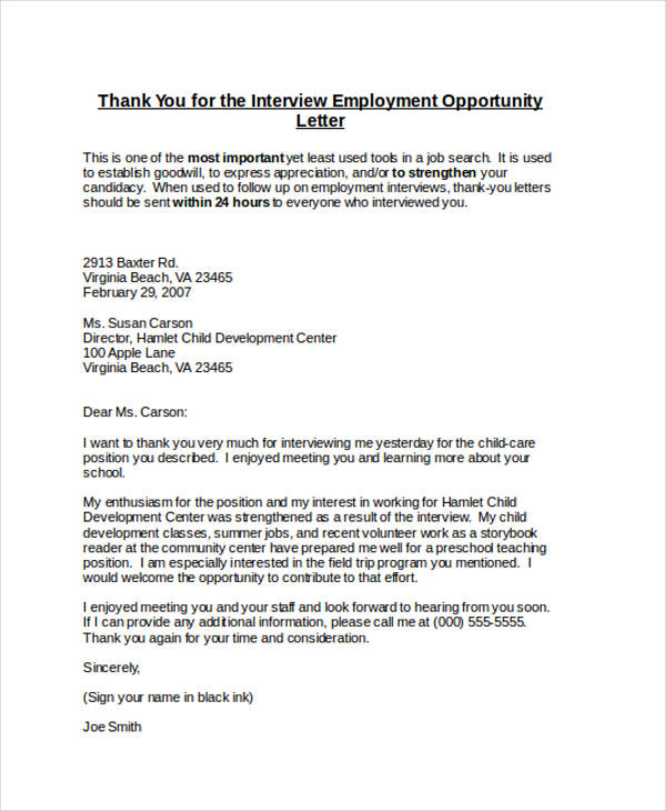sample thank you letter for employment opportunity
