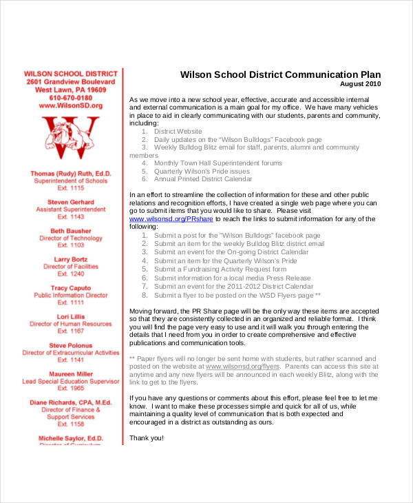 school district communication plan