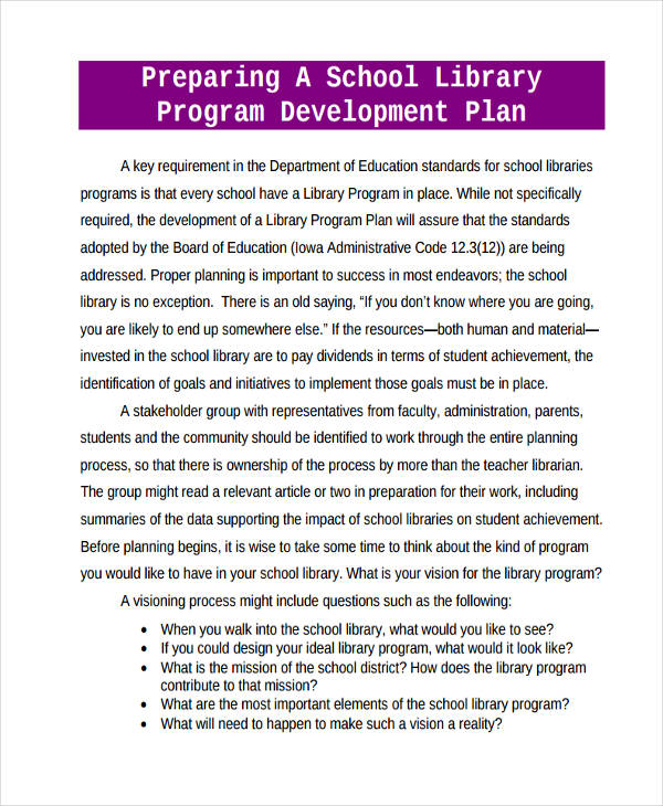 school library program development plan