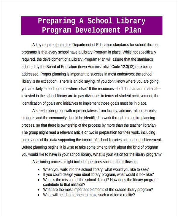 school library program development plan