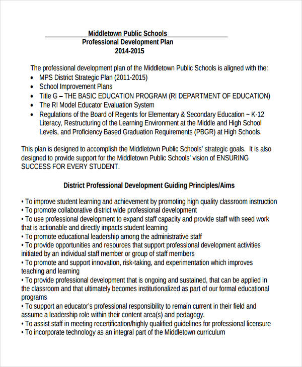 school professional development plan