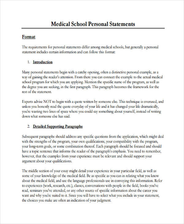 Medical Statement Examples Samples