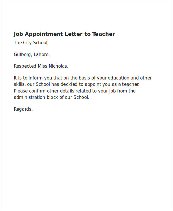 school teacher appointment letter
