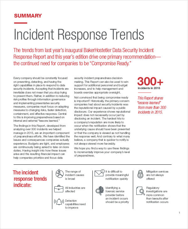 security incident response report
