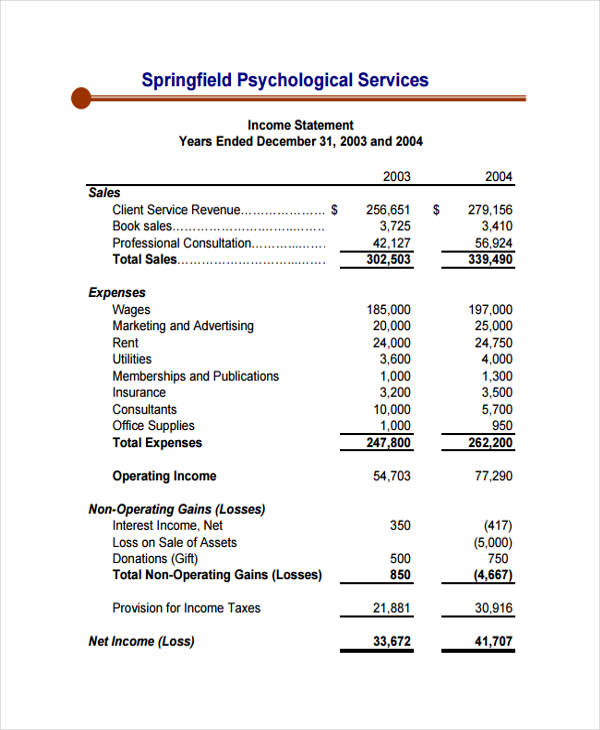service industry income statement