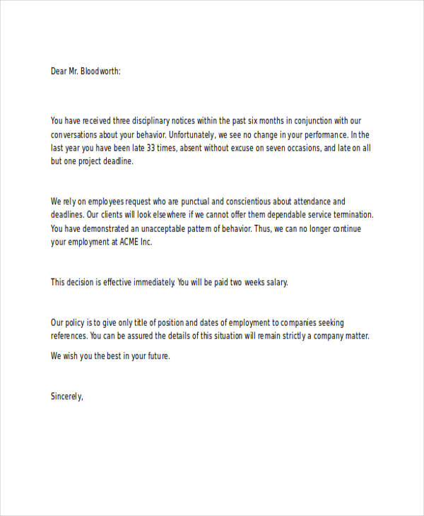 service termination request letter