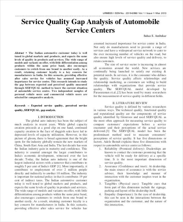 services gap analysis