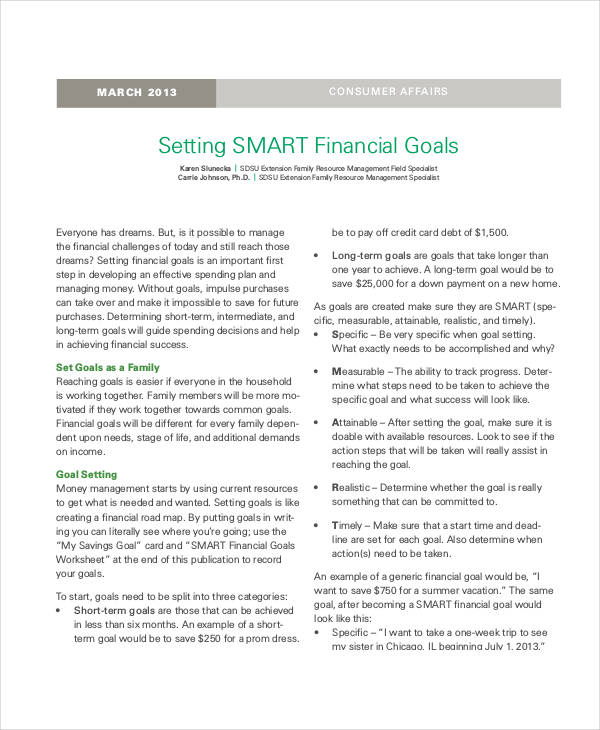 short term smart financial goals