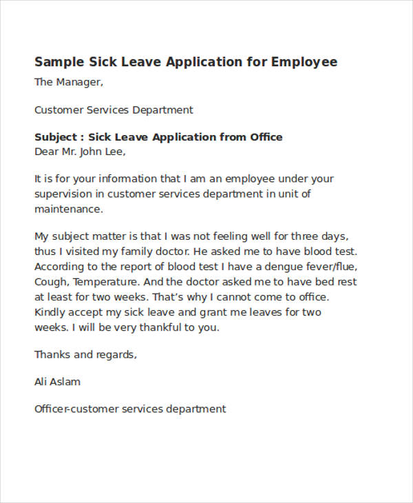 46 application letter examples - Sick Leave Request Sample