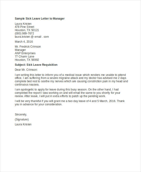 Sick Leave Letter To Employer
