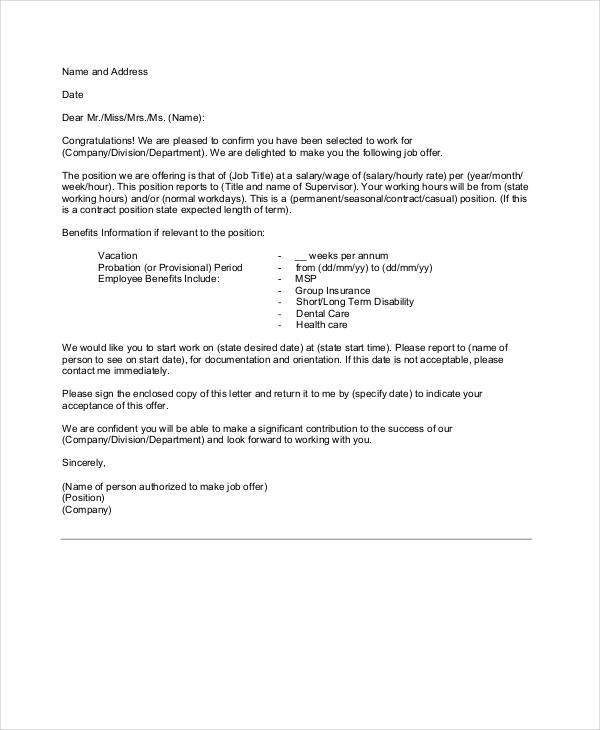 simple job appointment letter