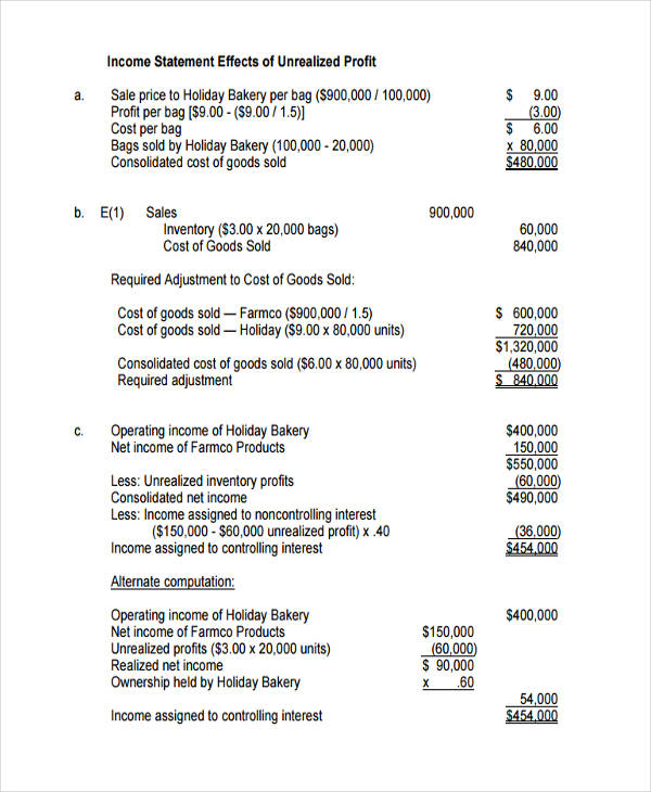 small bakery income statement