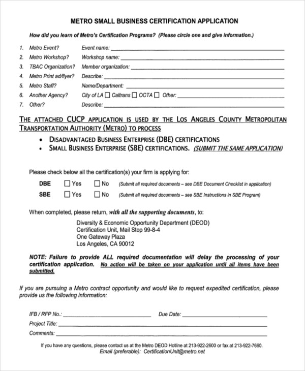small business certification application