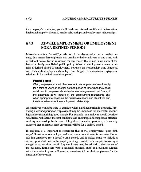 small business employment agreement