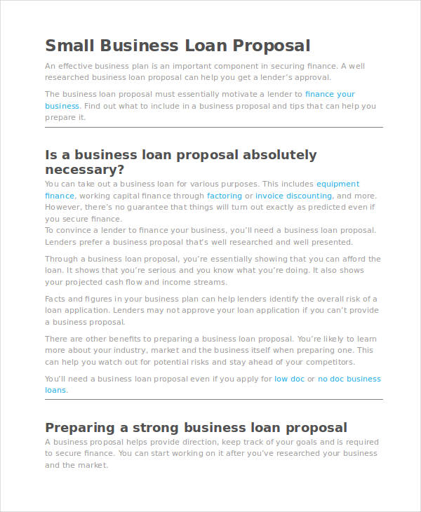 small business proposal examples small business loan proposal small business loan proposal1