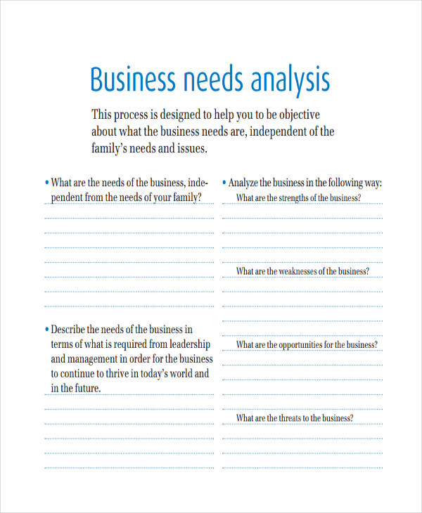 small business needs analysis