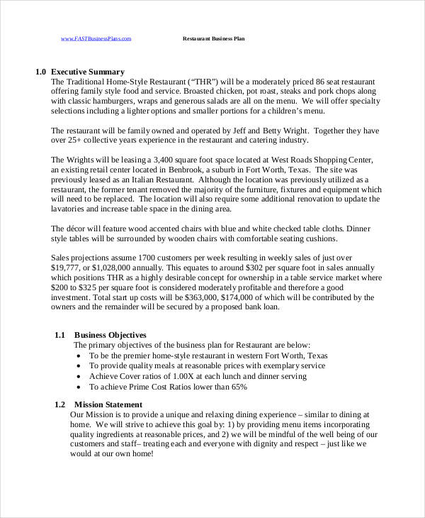 Small Restaurant Business Proposal  Executive Summary Proposal Template